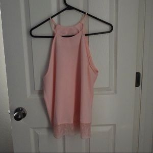 Baby pink high neck with lace detail